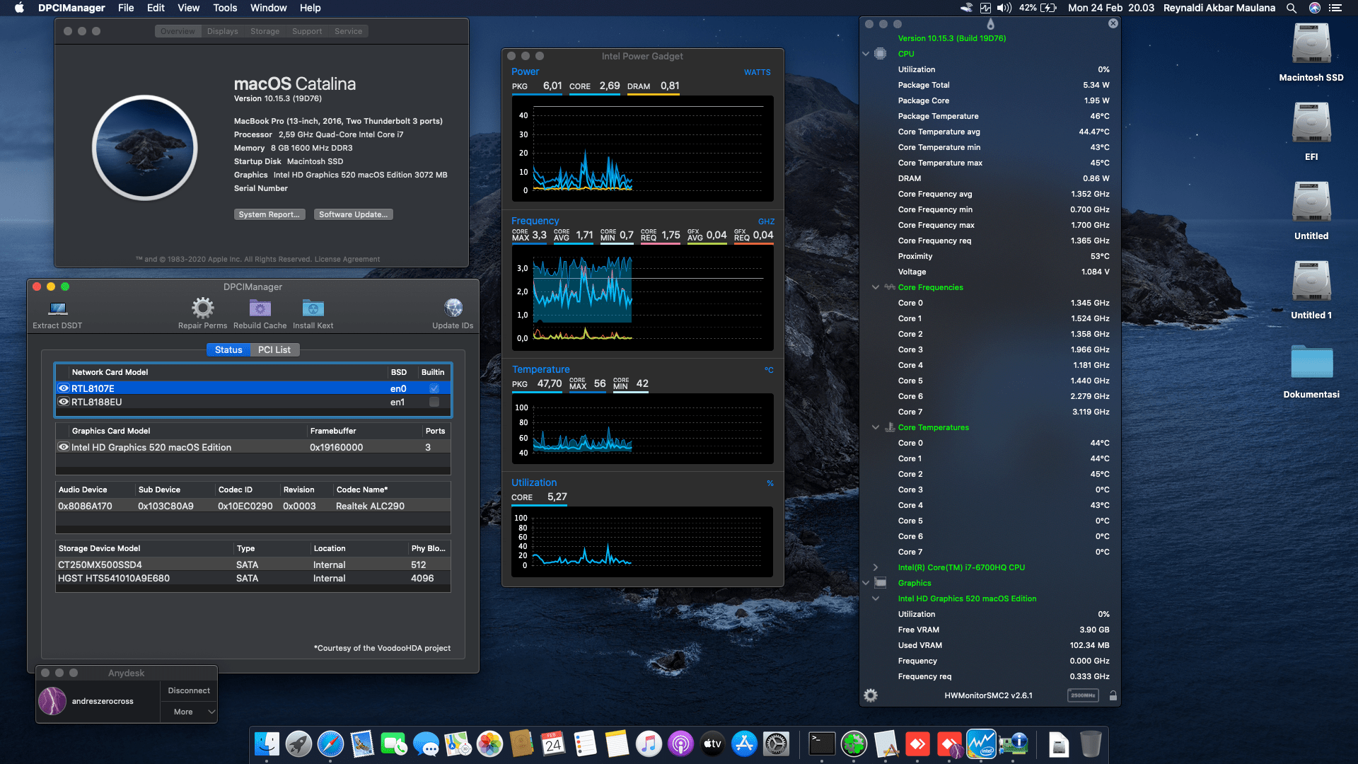 Success Hackintosh macOS Catalina 10.15.3 Build 19D76 at HP Pavilion 15-AK050TX